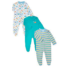 Buy John Lewis Baby Cars and Stripes Sleepsuits, Pack of 3, Multi Online at johnlewis.com