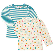 Buy John Lewis Baby's Long Sleeve Spots and Stripes T-Shirts, Pack of 2, Blue/Multi Online at johnlewis.com