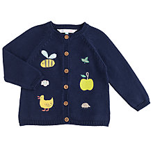 Buy John Lewis Baby's Apple Bee Knitted Cardigan, Navy Online at johnlewis.com