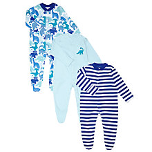 Buy John Lewis Baby Dinosaur Sleepsuits, Pack of 3, Blue Online at johnlewis.com