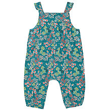 Buy John Lewis Baby Flower Print Dungarees, Teal/Multi Online at johnlewis.com