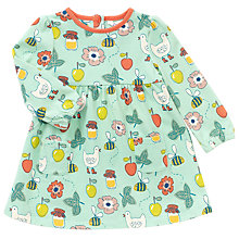 Buy John Lewis Baby Bee Print Jersey Dress, Turquoise Online at johnlewis.com