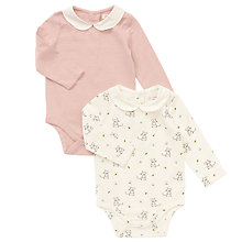 Buy John Lewis Baby's Long Sleeve Mouse Top, Pack of 2, Cream Online at johnlewis.com