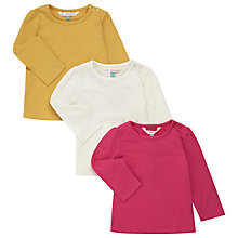 Buy John Lewis Baby's Long Sleeve T-Shirts, Pack of 3, Multi Online at johnlewis.com