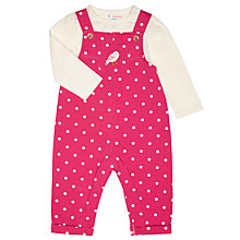 Buy John Lewis Baby's Spotted Dungaree and Long Sleeve T-Shirt Set, Pink Online at johnlewis.com