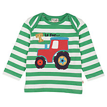 Buy Frugi Baby Bobby Tractor Striped T-Shirt, Green/White Online at johnlewis.com