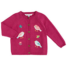 Buy John Lewis Baby's Embroidered Bird Cardigan, Pink Online at johnlewis.com