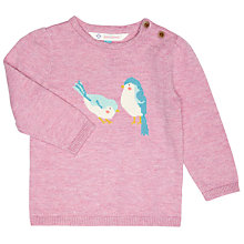 Buy John Lewis Baby's Bird Print Marl Jumper, Pink Online at johnlewis.com