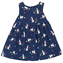 Buy John Lewis Baby Bunny Print Cord Dress, Navy Online at johnlewis.com