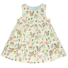 Buy John Lewis Baby's Squirrel Print Cord Pinafore, Cream Online at johnlewis.com