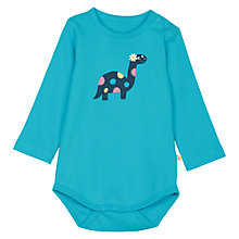Buy Frugi Baby Betty Dino Bodysuit, Turquoise Online at johnlewis.com