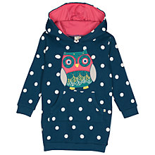 Buy Frugi Children's Harriet Owl Hooded Dress, Blue/White Online at johnlewis.com