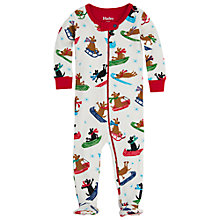 Buy Hatley Baby Sledging Dogs Print Sleepsuit, Cream Online at johnlewis.com