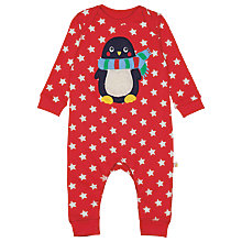 Buy Frugi Organic Baby Charlie Penguin Romper, Red Online at johnlewis.com