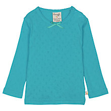 Buy Frugi Baby Mia Pointelle Long Sleeve T-Shirt, Turquoise Online at johnlewis.com
