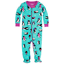 Buy Hatley Baby Penguin Print Sleepsuit, Teal Online at johnlewis.com