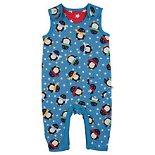 Buy Frugi Baby Reversible Penguin Print Dungarees, Blue/Red Online at johnlewis.com