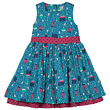 Buy Frugi Twirly Bird Print Dress, Blue/Red Online at johnlewis.com