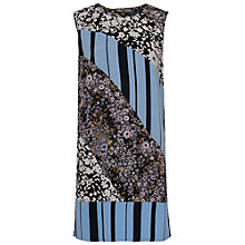 Buy French Connection Fast Freida Flower Drape Dress, Utility Blue/Multi Online at johnlewis.com