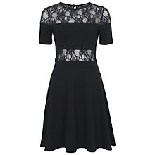 Buy French Connection Lace Embellished Flared Dress, Black Online at johnlewis.com