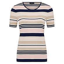 Buy Viyella Boat Neck Stripe Jersey Top, Pink Online at johnlewis.com