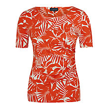 Buy Viyella Leaf Print Jersey Top, Paprika Online at johnlewis.com