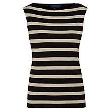 Buy Viyella Sleeveless Stripe Jersey Top, Black Online at johnlewis.com