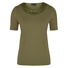 Buy Viyella Petite Sequin Jersey Top, Khaki Online at johnlewis.com