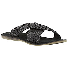 Buy Dune Interlace Leather Sandals, Black Online at johnlewis.com