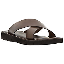 Buy Dune Invincible Leather Sandals, Brown Online at johnlewis.com