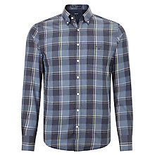 Buy Gant Rupert Check Heather Twill Shirt, Dark Indigo Online at johnlewis.com