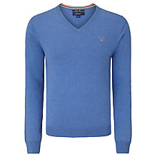 Buy Gant V-Neck Cotton Wool Jumper, Blue Melange Online at johnlewis.com