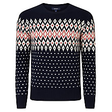 Buy Gant Christmas Fair Isle Jumper, Navy Online at johnlewis.com