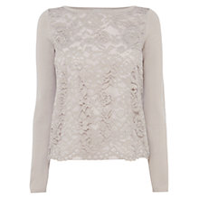 Buy Coast Spencer Lace Knit Top, Grey Online at johnlewis.com