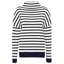 Buy Whistles Stripe Funnel Neck Knit Jumper, Navy Online at johnlewis.com