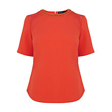 Buy Karen Millen Geo Dot Broderie Top, Red Online at johnlewis.com