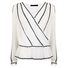 Buy Karen Millen Embroidered Wrap Blouse, Ivory Online at johnlewis.com