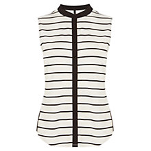 Buy Karen Millen Stripe Jersey Shirt, Black/White Online at johnlewis.com