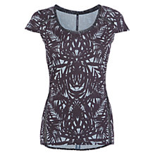 Buy Karen Millen Silhouette Printed T-Shirt, Blue Online at johnlewis.com