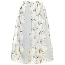 Buy Whistles Silk Organza Palm Print Skirt, Pale Grey Online at johnlewis.com