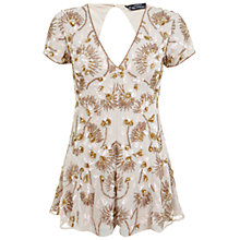 Buy Miss Selfridge Petite Sequin Playsuit, Nude Online at johnlewis.com