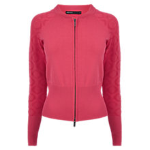 Buy Karen Millen Bomber Knitted Cardigan, Pink Online at johnlewis.com