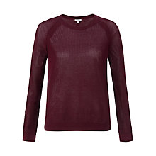 Buy Jigsaw Crew Neck Mesh Cotton Jumper Online at johnlewis.com