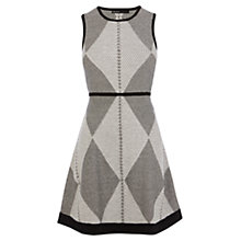 Buy Karen Millen Tribal Knitted Dress, Black/White Online at johnlewis.com