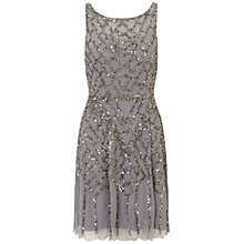 Buy Aidan Mattox Sleeveless Beaded Cocktail Dress, Ice Violet Online at johnlewis.com