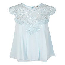 Buy Miss Selfridge Lace Yoke Top, Duck Egg Blue Online at johnlewis.com