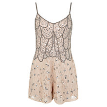 Buy Miss Selfridge Embellished Playsuit, Nude Online at johnlewis.com