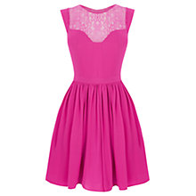 Buy Oasis Lace Trim Soft Skater Dress, Mexican Pink Online at johnlewis.com