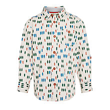 Buy John Lewis Boy Leaf Print Shirt, Stone/Multi Online at johnlewis.com