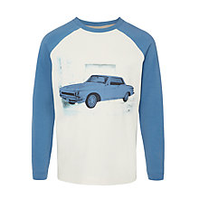 Buy John Lewis Boy Long Sleeve Vintage Car T-Shirt, Cream/Blue Online at johnlewis.com